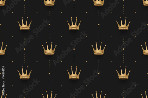 Foto  Seamless gold pattern with king crowns on a dark black background