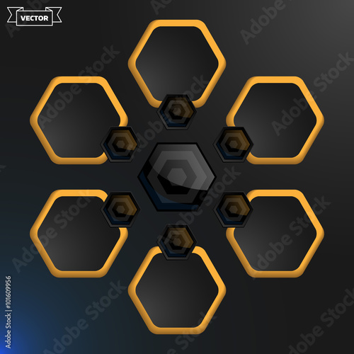 Vector hexagon infographic design template  Vector