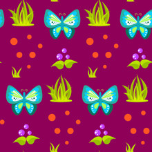 Spring Forest Blue Butterfly Seamless Pattern. Cartoon Purple Plant Background.