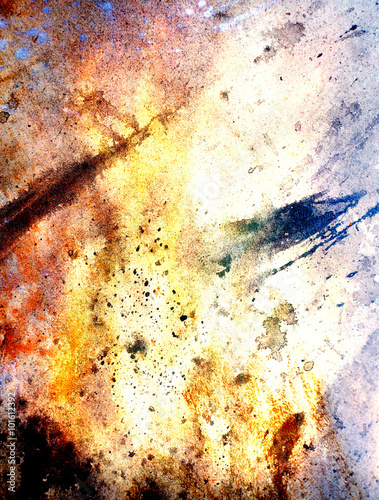 Photo Painting Abstract  Fire on paper and spoots
