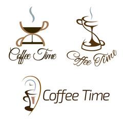 Tapeta Set of coffee time logo design.