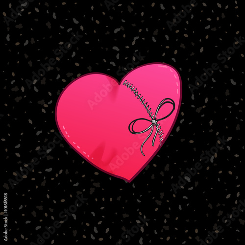 Photo  Loving hardwired heart with bow at black