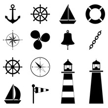 Set Of Sea Icons, Vector Illus...