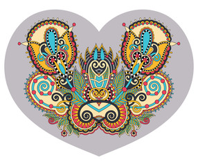 lace heart shape with ethnic floral paisley design for Valentine