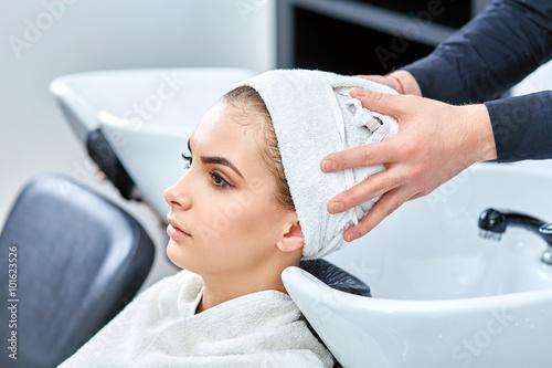shampoo for hair, beauty salon, hair wash Slika na platnu