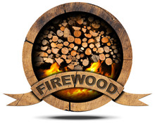 Firewood - Wooden Symbol / Wooden Symbol With A Pile Of Firewood And Flames, Text Firewood On A Wooden Ribbon. Isolated On White Background