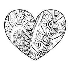 Plakat Vector Decorative Monochrome Floral Heart