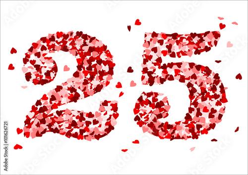 Poster  Die Zahl 25 aus roten Herzen