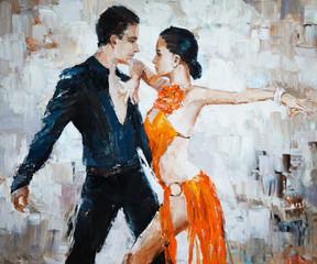 Fototapetatango dancers digital painting, tango dancers