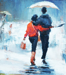 Panel Szklany Romantyczny man and woman go under an umbrella, rear view, oil painting. a pair of lovers under an umbrella,