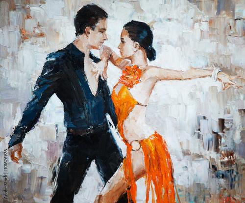 tango dancers digital painting, tango dancers Wallpaper Mural