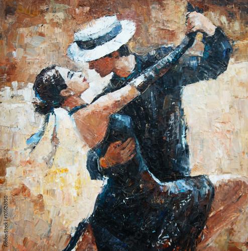 Tango danseurs peinture, danseurs de tango numériques Poster Mural XXL