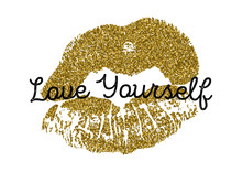 Poster With Gold Glitter Lips ...