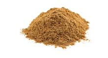Macro Of Chocolate Flavored Carob Powder On White