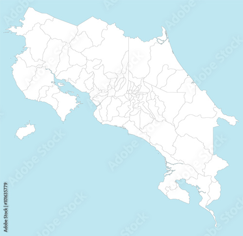 A large and detailed map of Costa Rica with all provincesa and ...