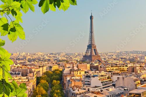 Aluminium Prints Paris View on Eiffel tower at sunset