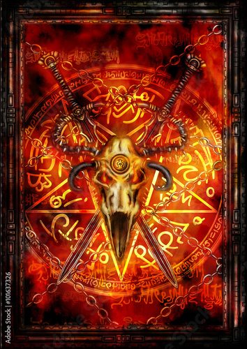 Tuinposter Dark fantasy cover or a card. Illustration fantasy composition with swords, demonic skull, pentagram and fire background
