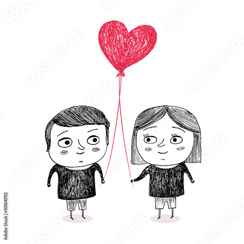 Photo  Boy and Girl in love, holding a heart shape balloon, hand drawn