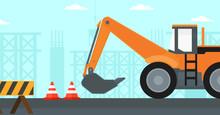 Background Of Excavator On Con...