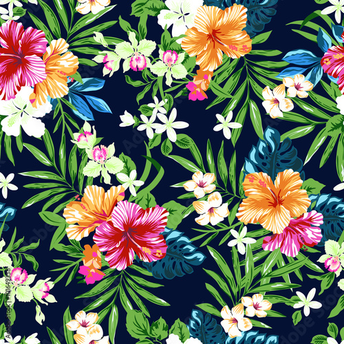 colorful and cute tropical seamless print Wallpaper Mural