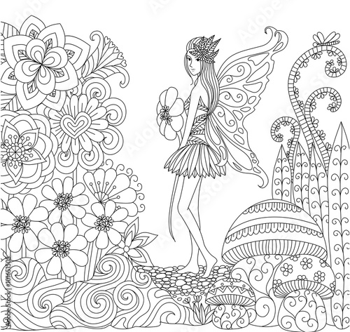 Hand Drawn Fairy Walking In The Flowers Land For Coloring Book Adult