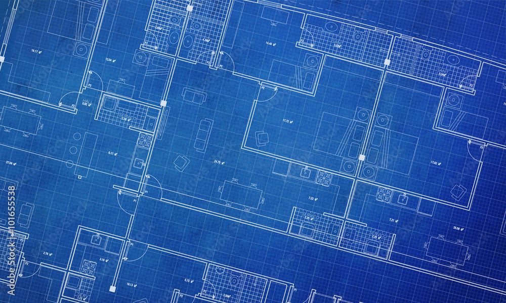 Fototapety, obrazy: Clean architecture Floor plan background blueprint style abstract