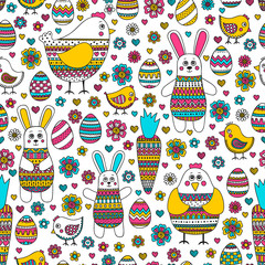 FototapetaEaster pattern. Seamless easter pattern with doodle elements. Bunny, eggs, hen, chicken, carrot with hand drawn doodle ornament. Cute background for Easter design.