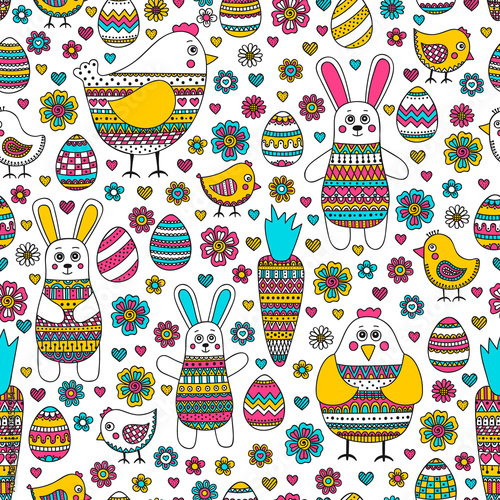 Easter pattern. Seamless easter pattern with doodle elements. Bunny, eggs, hen, chicken, carrot with hand drawn doodle ornament. Cute background for Easter design. - 101657914