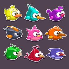 Funny Cartoon Birds Stickers
