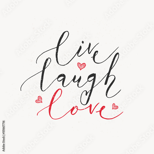 Hand sketched Live Laugh Love text as Valentine's Day badge/icon Wallpaper Mural