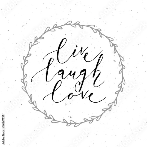 Hand sketched Live Laugh Love text as Valentine's Day badge/icon Canvas Print