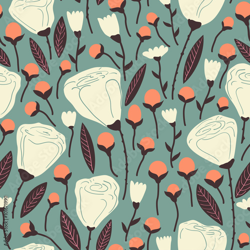 Elegant seamless pattern with white flowers.
