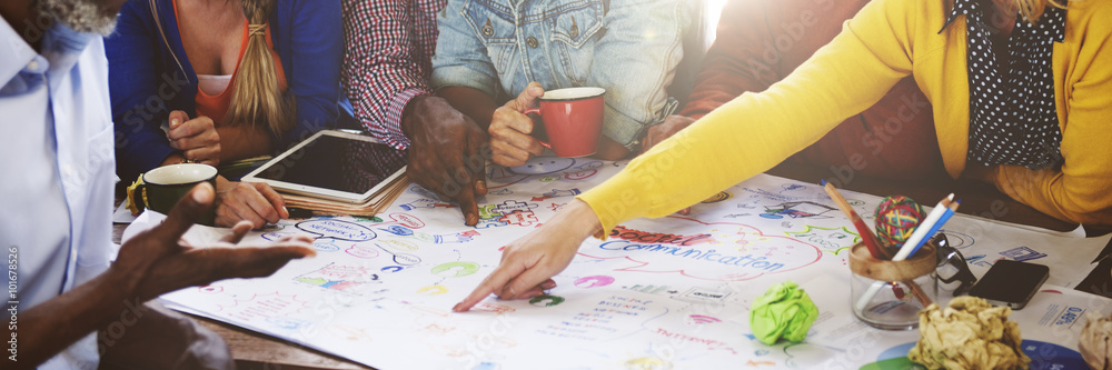 Fototapety, obrazy: Teamwork Meeting Brainstorming Social Communication Concept