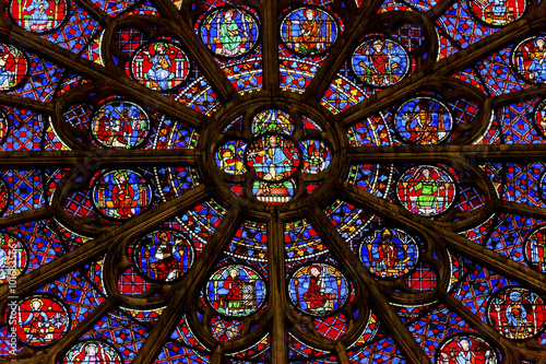 Rose Window Jesus Stained Glass Notre Dame Paris France Wallpaper Mural