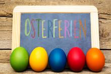 Schultafel Mit Text Osterferien