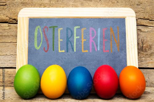 Valokuva  Schultafel mit Text Osterferien