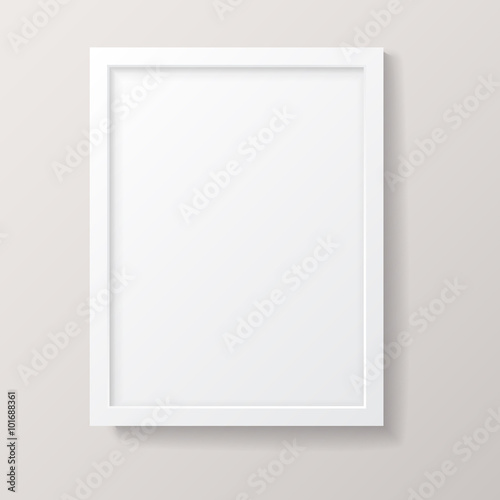 Realistic Empty White Picture Frame Wall mural