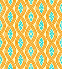 Yellow And Blue Wave Mosaic Se...