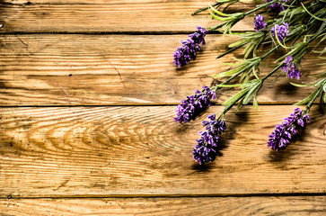Lavender on wooden boards. Vintage retro style background