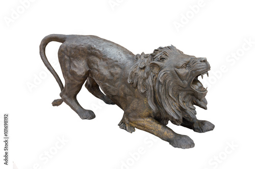 Stock Photo:a copper lion sculpture Tableau sur Toile