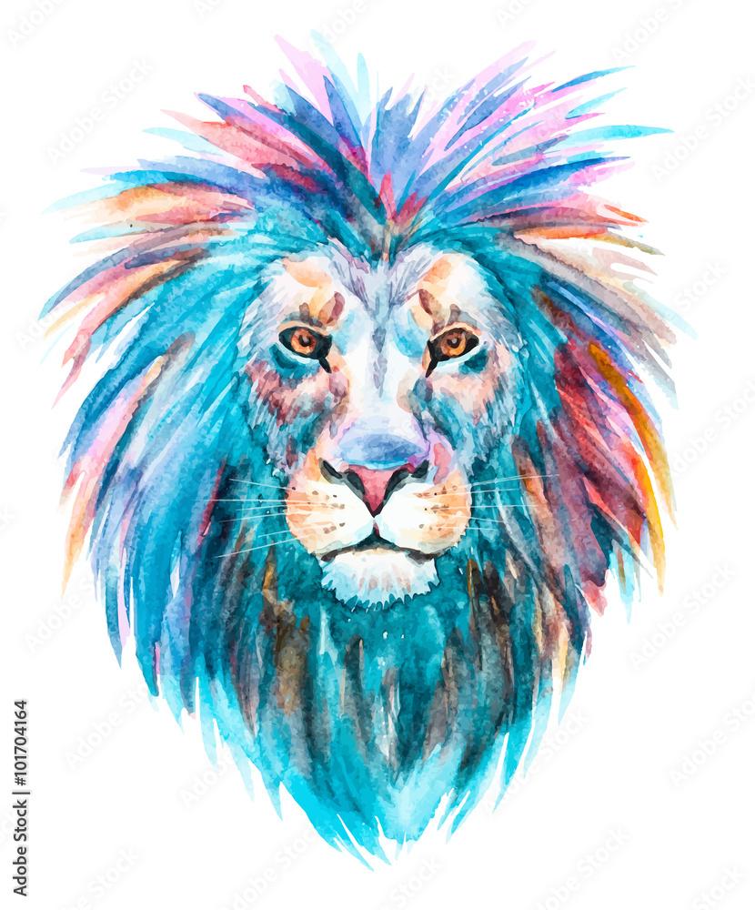 Fototapeta Watercolor vector lion