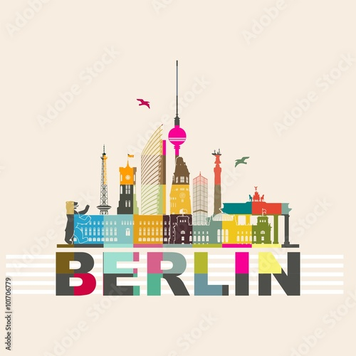 Fotografie, Obraz  Berlin Musaik Skyline bunt Stadtansicht mit wichtigen Sehenswürdigkeiten Siegess