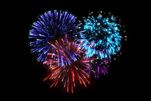 Colorful Fireworks At Celebration Midnight.