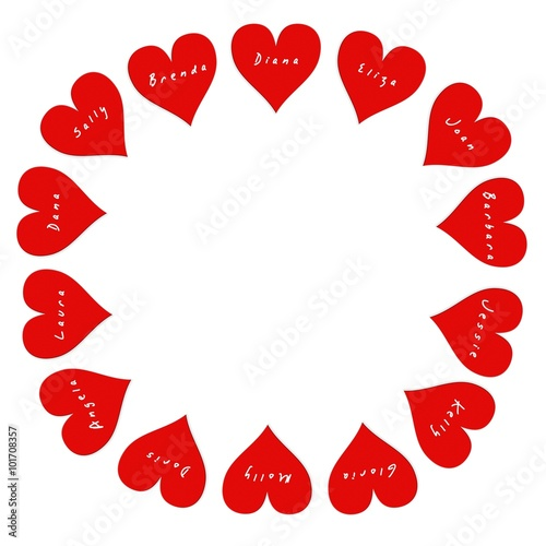 Photo  Round frame of 14 hearts with women's names on Valentine's Day