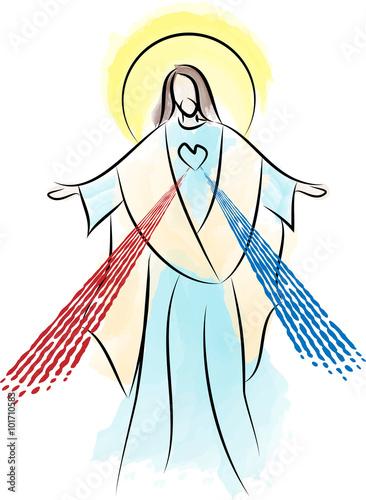 Fotomural Jesus Christ the Risen Lord, Sacred Heart Divine Mercy