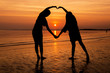 Loveing with sunset sky