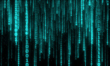 Cyberspace With Digital Falling Lines, Binary Hanging Chain, Abstract Background With Blue Digital Lines