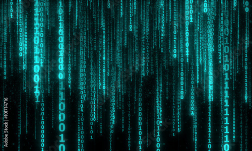 Stampa su Tela cyberspace with digital falling lines, binary hanging chain, abstract background