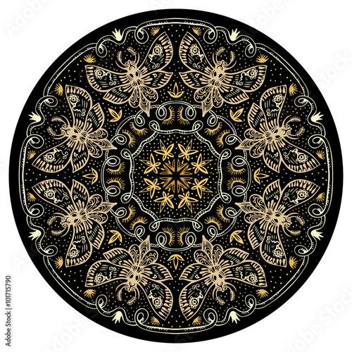 Fotografia, Obraz Night Moths Golden Mandala