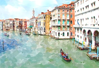 Fototapeta Popularne Abstract watercolor digital generated painting of the main water canal, houses and gondolas in Venice, Italy.